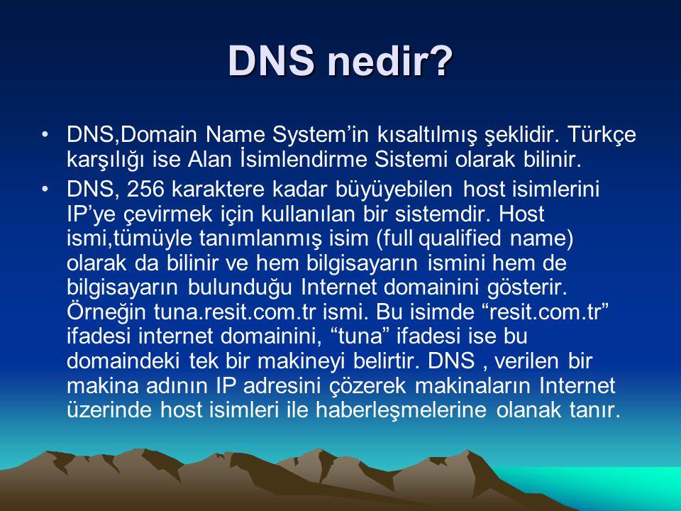 DNS nedir DNS,Domain Name System'in kısaltılmış şeklidir. Türkçe karşılığı ise Alan İsimlendirme Sistemi olarak bilinir.
