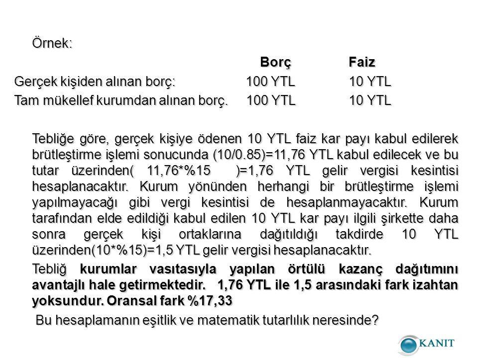 Örnek: Borç Faiz. Gerçek kişiden alınan borç: 100 YTL 10 YTL. Tam mükellef kurumdan alınan borç. 100 YTL 10 YTL.