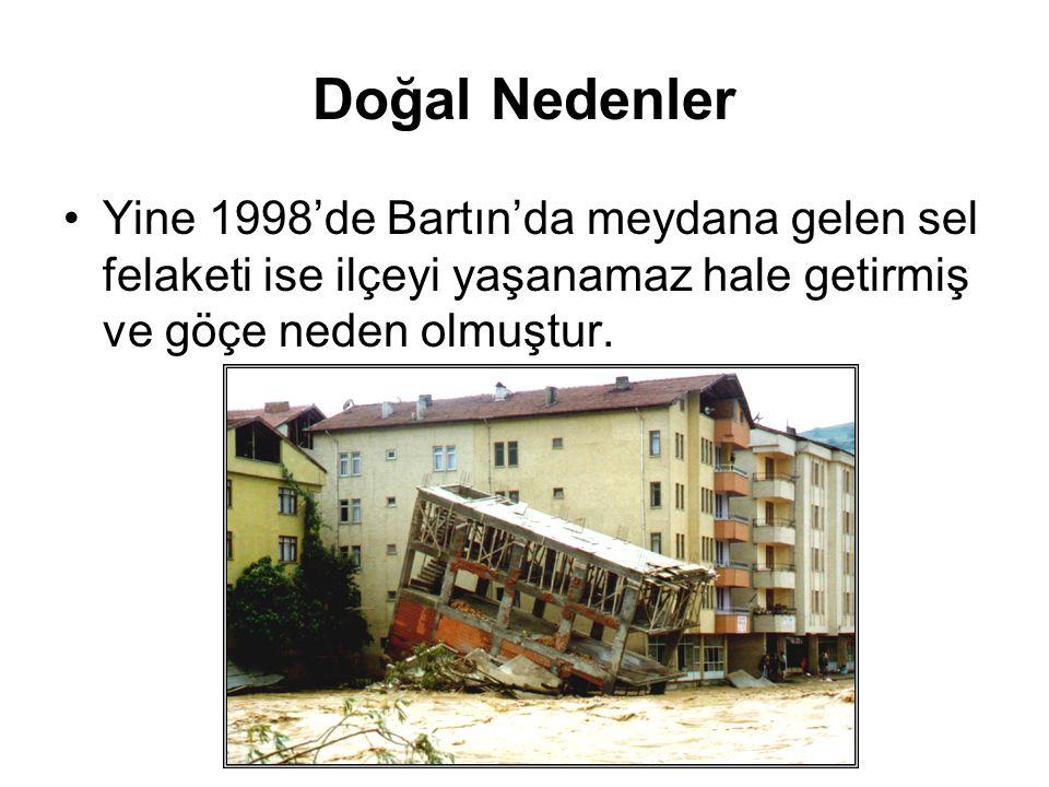Doğal Nedenler Yine 1998'de Bartın'da meydana gelen sel felaketi ise ilçeyi yaşanamaz hale getirmiş ve göçe neden olmuştur.