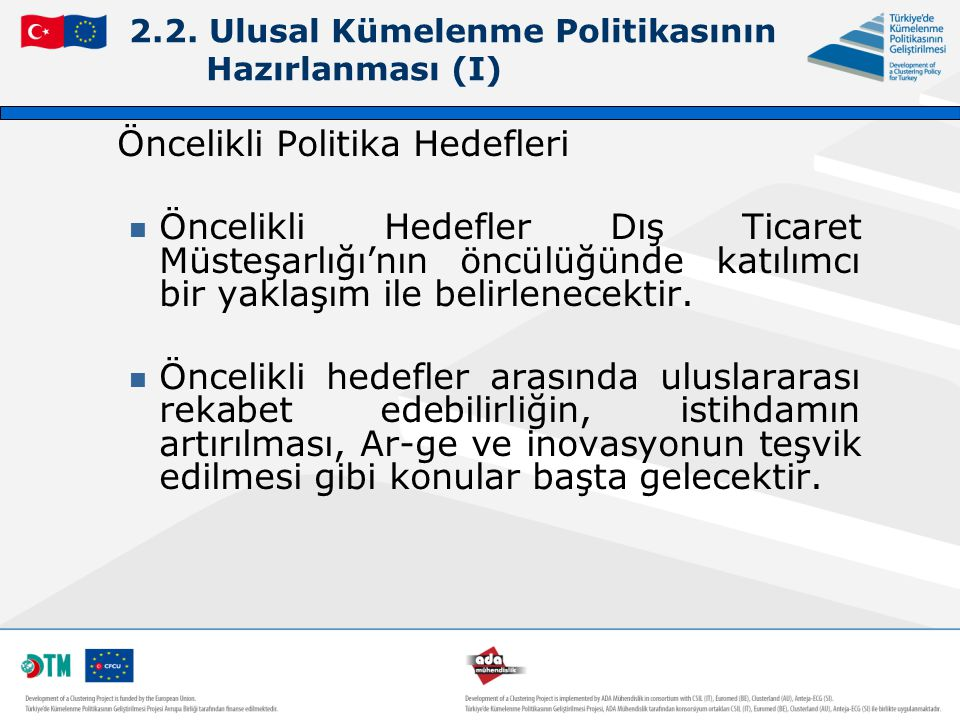 2.2. Ulusal Kümelenme Politikasının Hazırlanması (I)