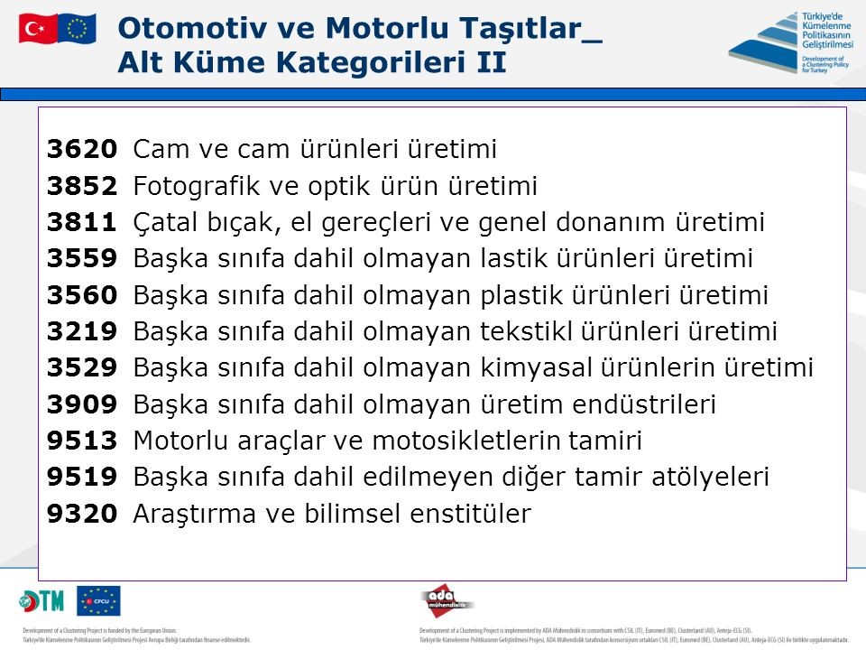 Otomotiv ve Motorlu Taşıtlar_ Alt Küme Kategorileri II