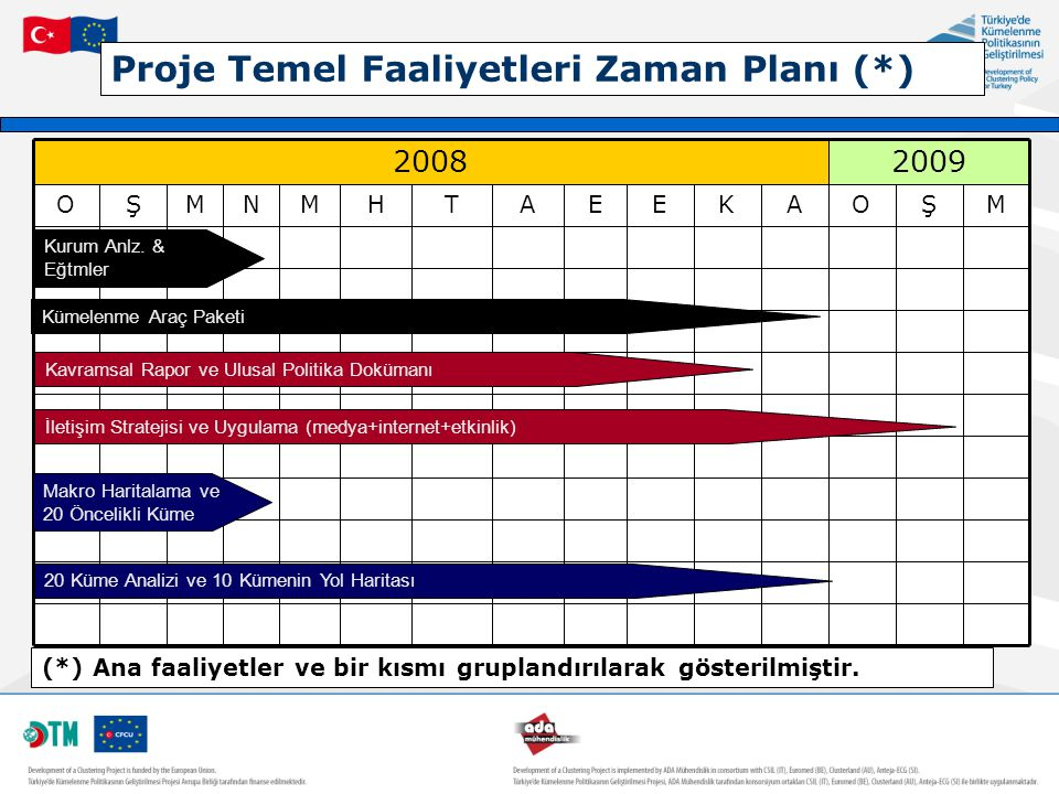 Proje Temel Faaliyetleri Zaman Planı (*)