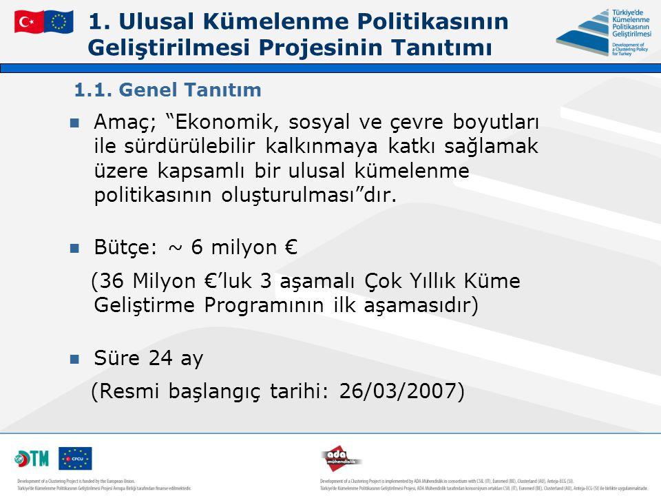 1. Ulusal Kümelenme Politikasının Geliştirilmesi Projesinin Tanıtımı