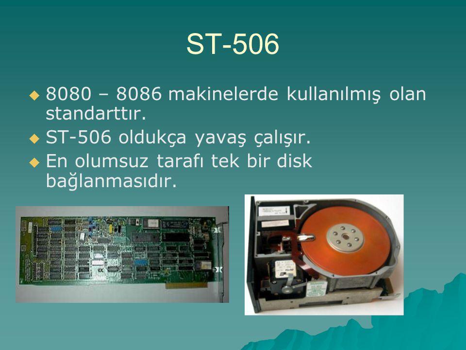 ST-506 8080 – 8086 makinelerde kullanılmış olan standarttır.