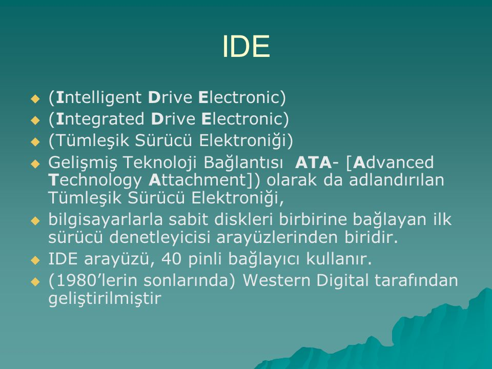 IDE (Intelligent Drive Electronic) (Integrated Drive Electronic)