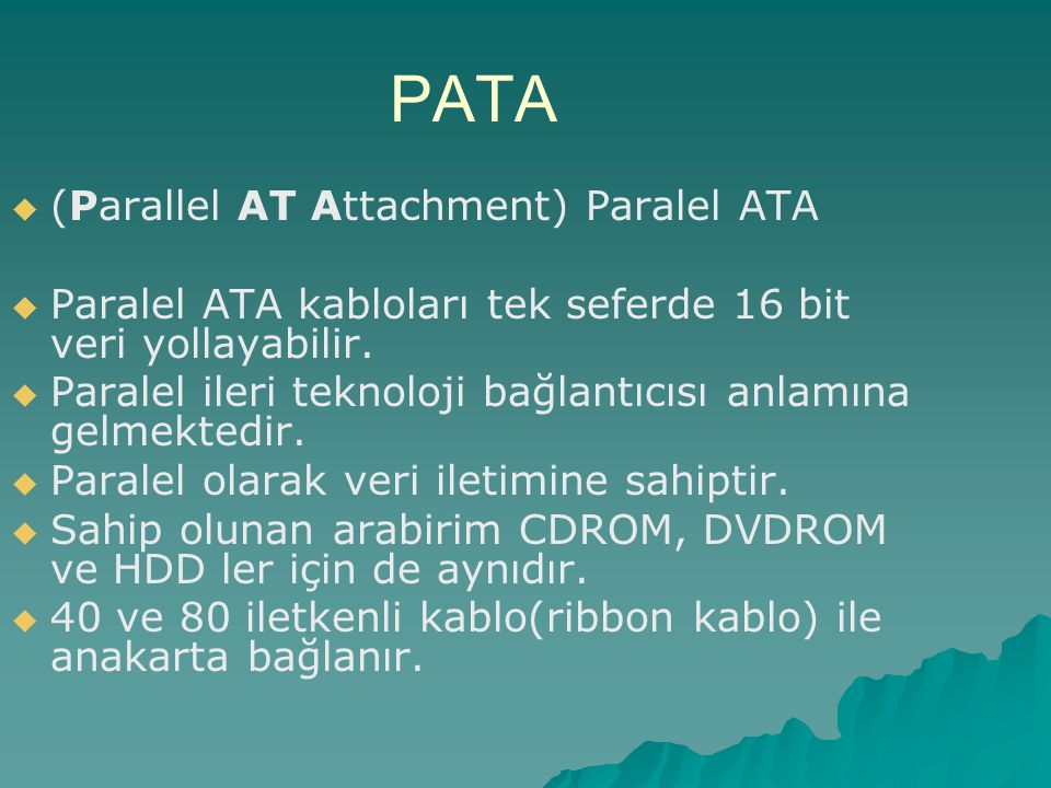PATA (Parallel AT Attachment) Paralel ATA