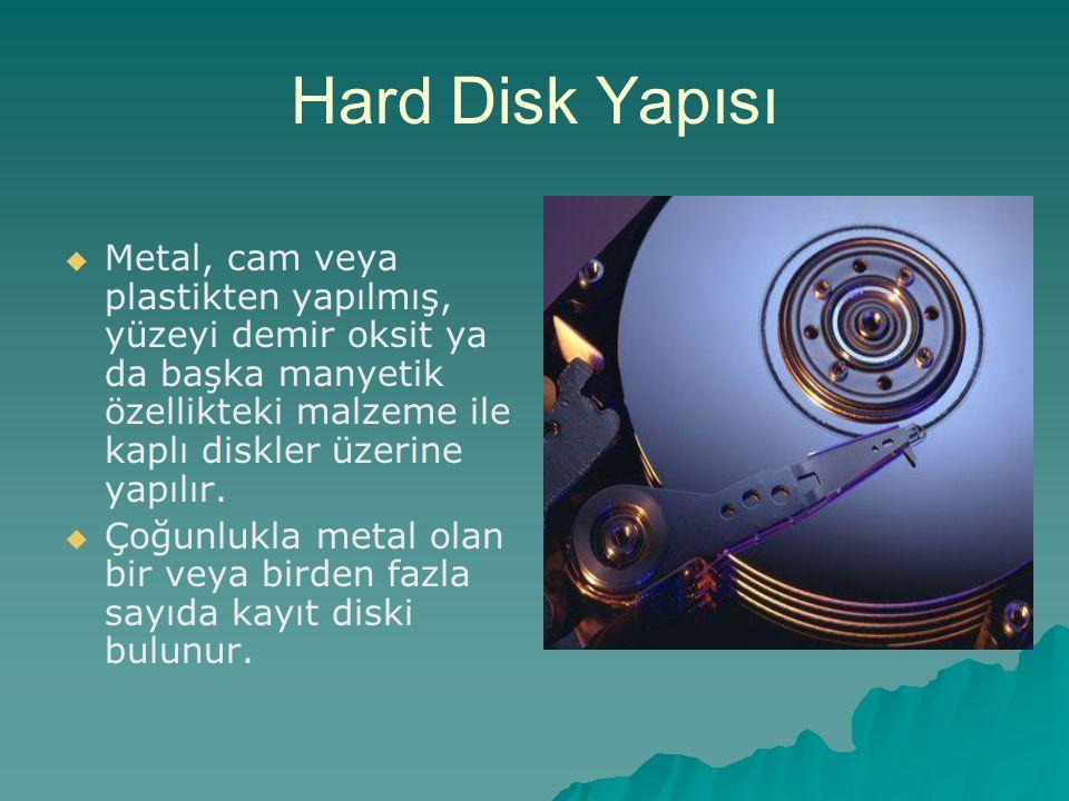 Hard Disk Yapısı Metal, cam veya plastikten yapılmış, yüzeyi demir oksit ya da başka manyetik özellikteki malzeme ile kaplı diskler üzerine yapılır.