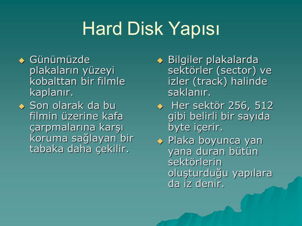 Hard Disk Yapısı Günümüzde plakaların yüzeyi kobalttan bir filmle kaplanır.