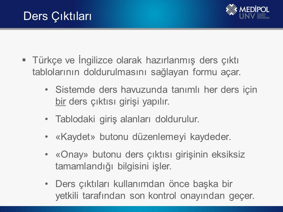 Ders Çıktıları Türkçe ve İngilizce olarak hazırlanmış ders çıktı tablolarının doldurulmasını sağlayan formu açar.
