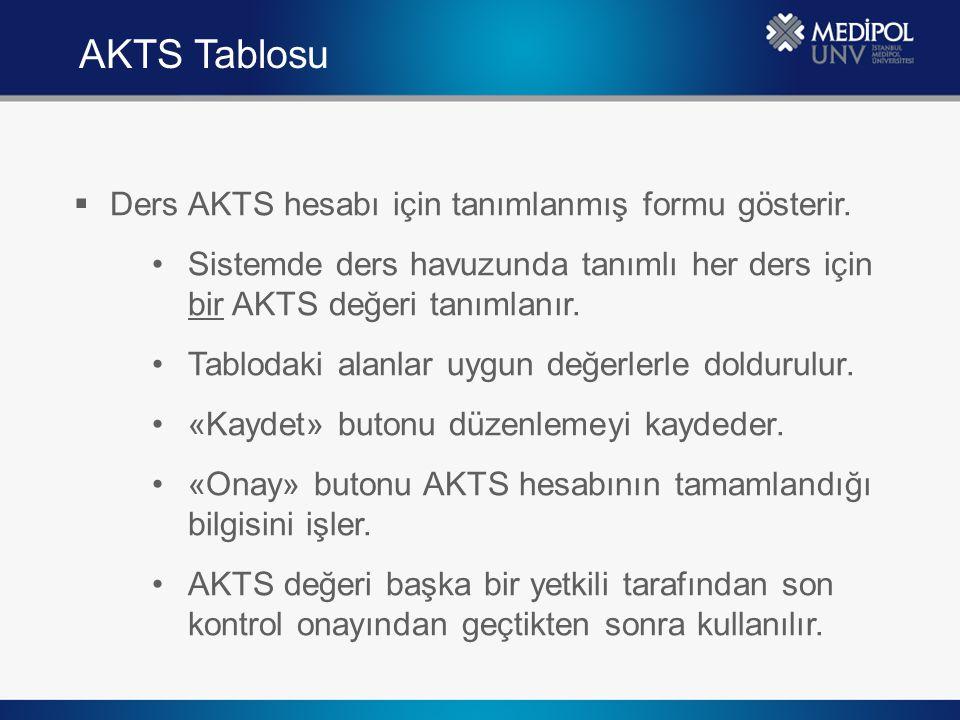 AKTS Tablosu Ders AKTS hesabı için tanımlanmış formu gösterir.