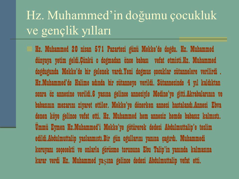 Hz. Muhammed'in doğumu çocukluk ve gençlik yılları