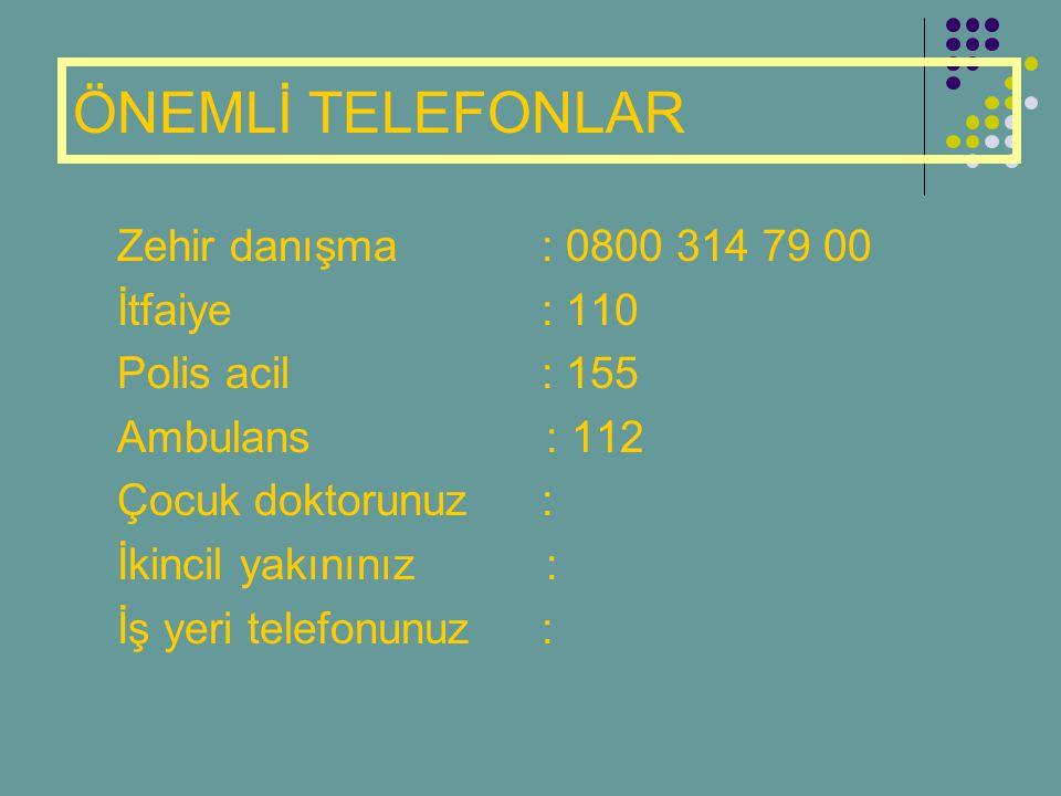 ÖNEMLİ TELEFONLAR Zehir danışma : 0800 314 79 00 İtfaiye : 110