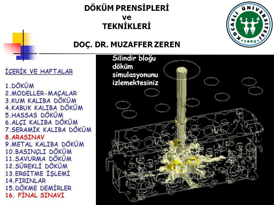 DÖKÜM PRENSİPLERİ ve TEKNİKLERİ DOÇ. DR. MUZAFFER ZEREN