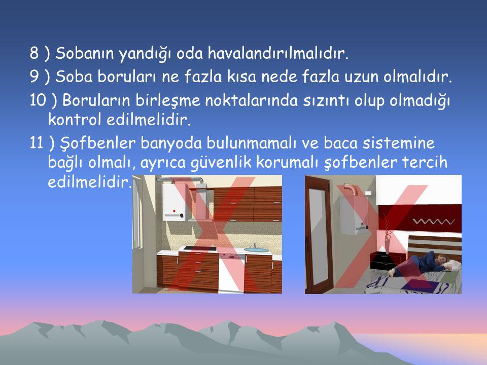 8 ) Sobanın yandığı oda havalandırılmalıdır.