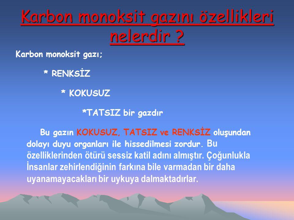 Karbon monoksit gazını özellikleri nelerdir