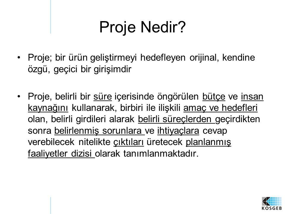 Proje Nedir Proje; bir ürün geliştirmeyi hedefleyen orijinal, kendine özgü, geçici bir girişimdir.