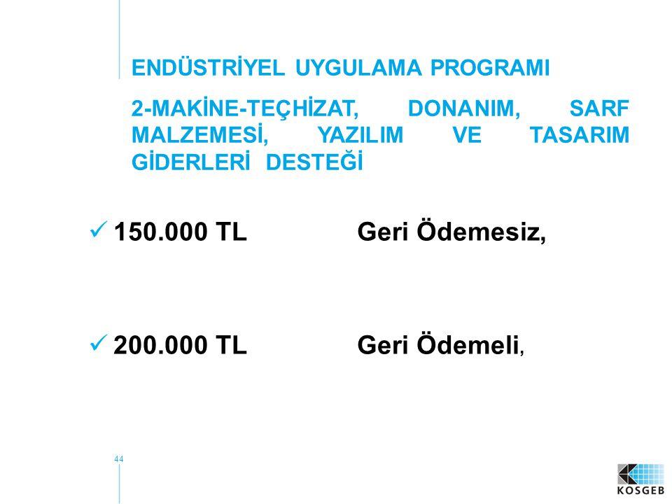 150.000 TL Geri Ödemesiz, 200.000 TL Geri Ödemeli,