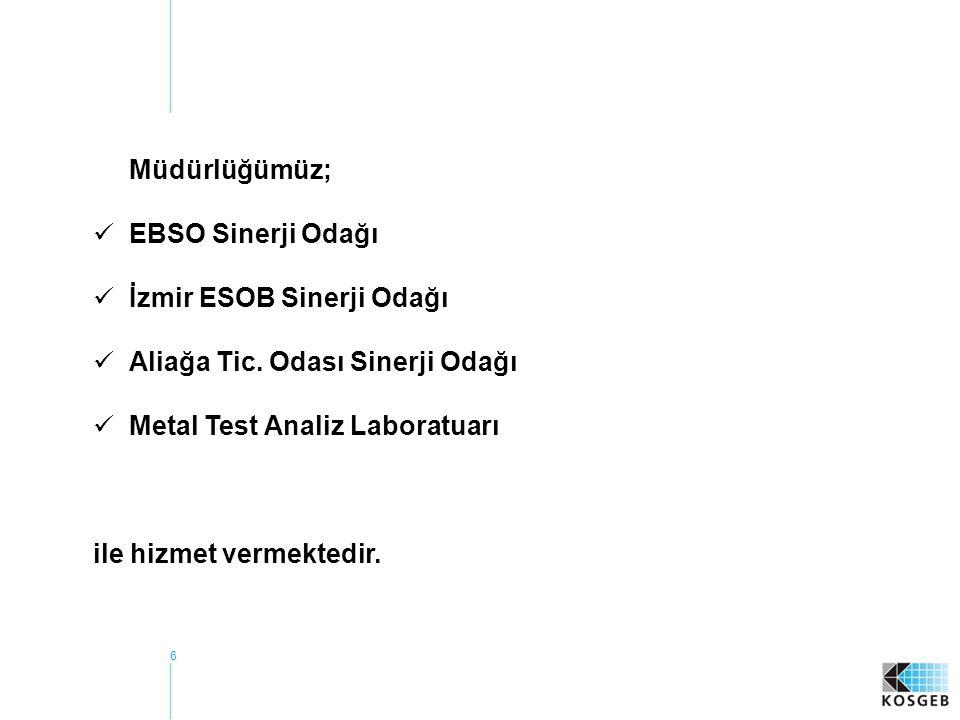 Müdürlüğümüz; EBSO Sinerji Odağı. İzmir ESOB Sinerji Odağı. Aliağa Tic. Odası Sinerji Odağı. Metal Test Analiz Laboratuarı.