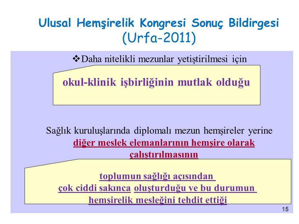 Ulusal Hemşirelik Kongresi Sonuç Bildirgesi (Urfa-2011)