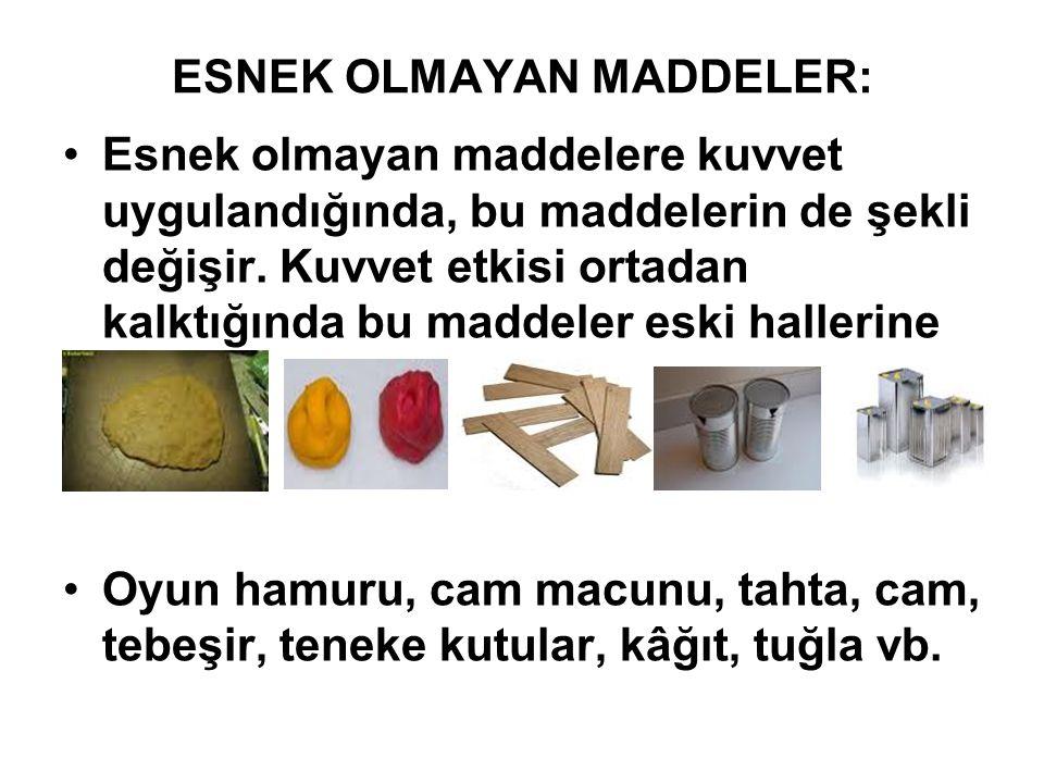 ESNEK OLMAYAN MADDELER: