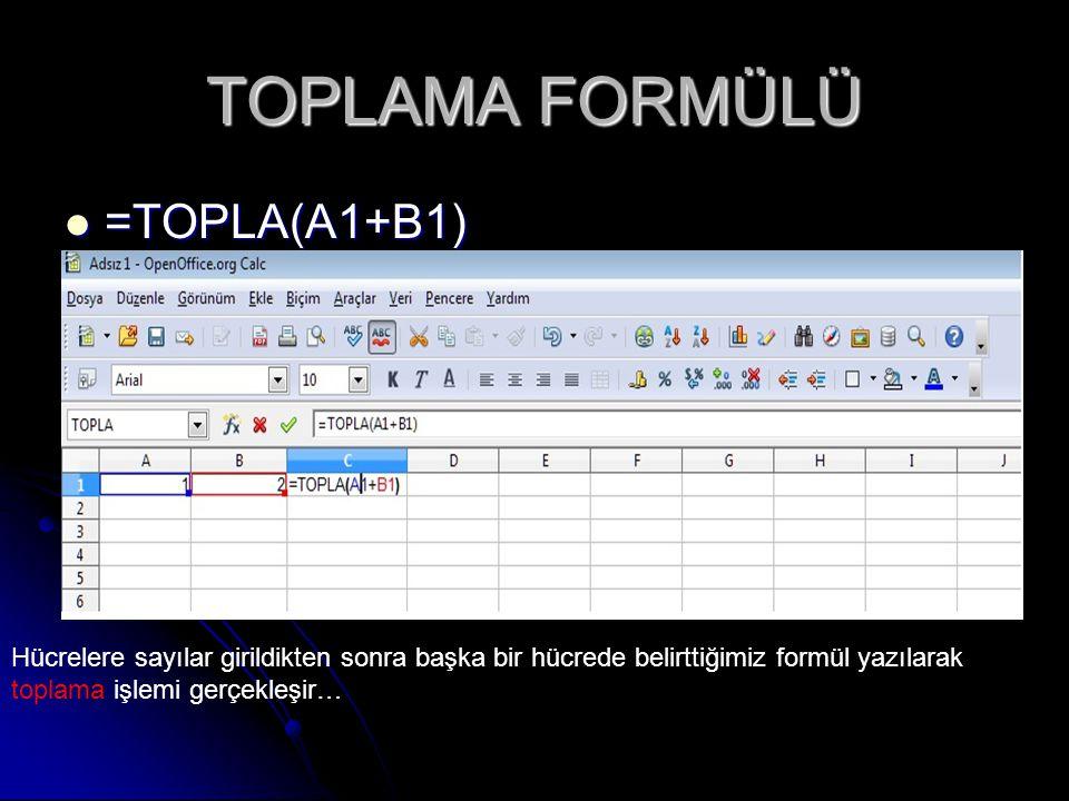 TOPLAMA FORMÜLÜ =TOPLA(A1+B1)