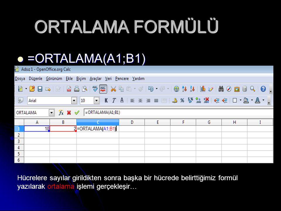 ORTALAMA FORMÜLÜ =ORTALAMA(A1;B1)