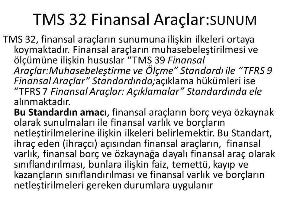 TMS 32 Finansal Araçlar:SUNUM
