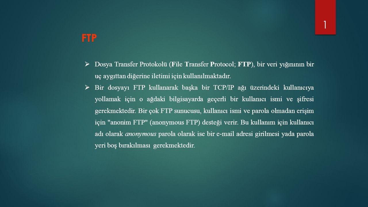 FTP Dosya Transfer Protokolü (File Transfer Protocol; FTP), bir veri yığınının bir uç aygıttan diğerine iletimi için kullanılmaktadır.