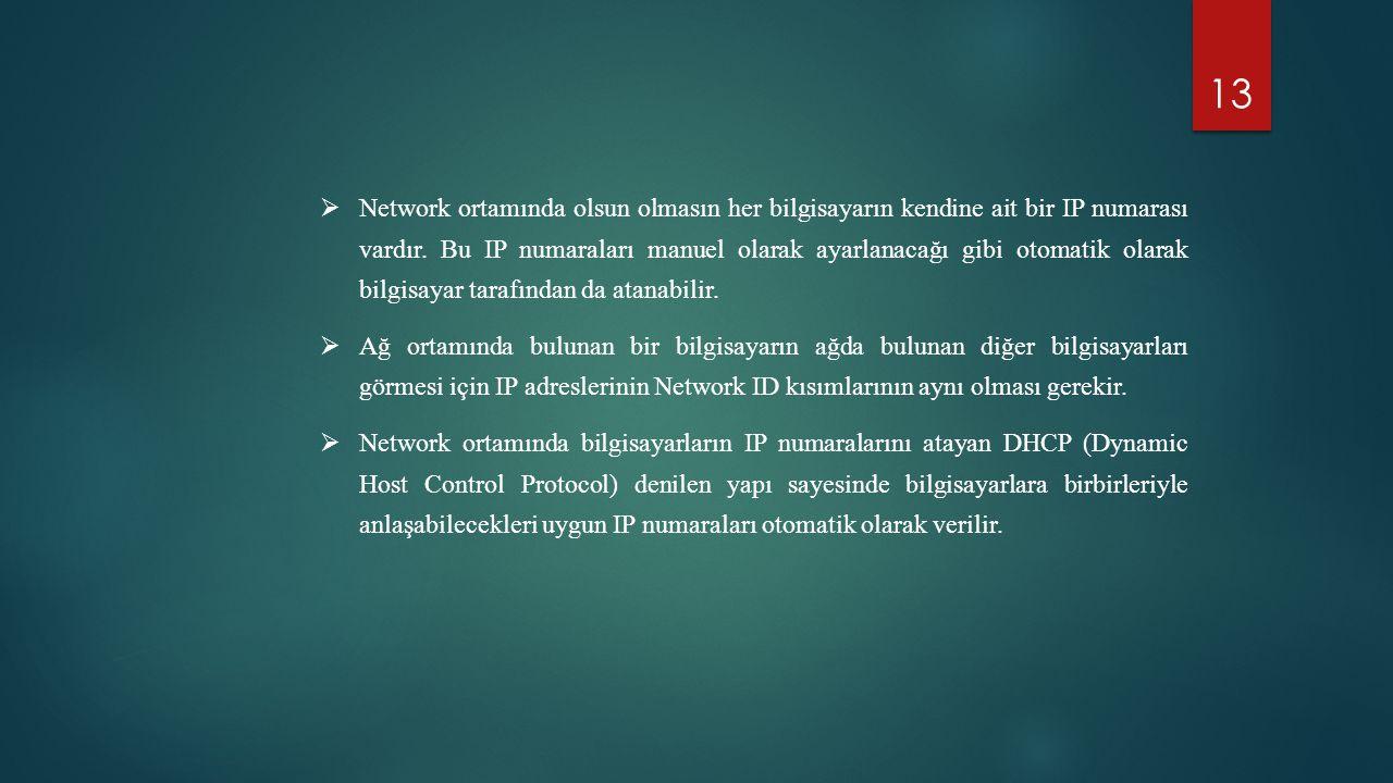 Network ortamında olsun olmasın her bilgisayarın kendine ait bir IP numarası vardır. Bu IP numaraları manuel olarak ayarlanacağı gibi otomatik olarak bilgisayar tarafından da atanabilir.