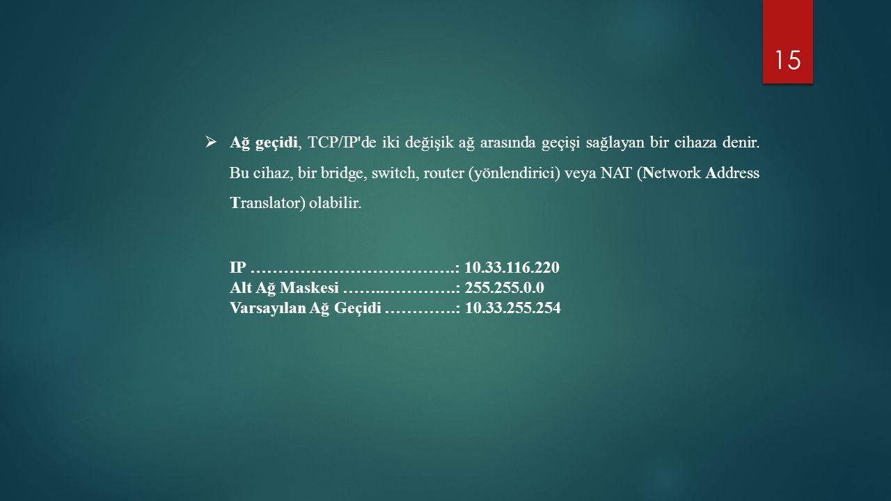 Ağ geçidi, TCP/IP de iki değişik ağ arasında geçişi sağlayan bir cihaza denir. Bu cihaz, bir bridge, switch, router (yönlendirici) veya NAT (Network Address Translator) olabilir.