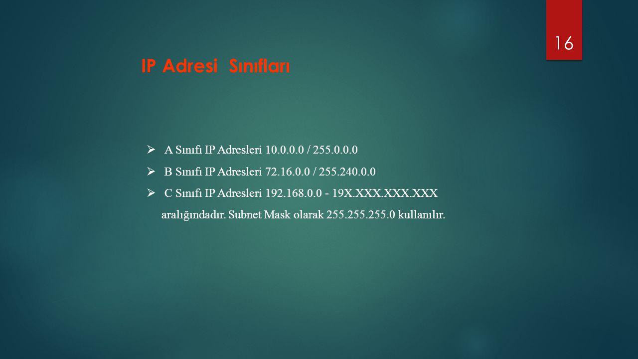 IP Adresi Sınıfları A Sınıfı IP Adresleri 10.0.0.0 / 255.0.0.0
