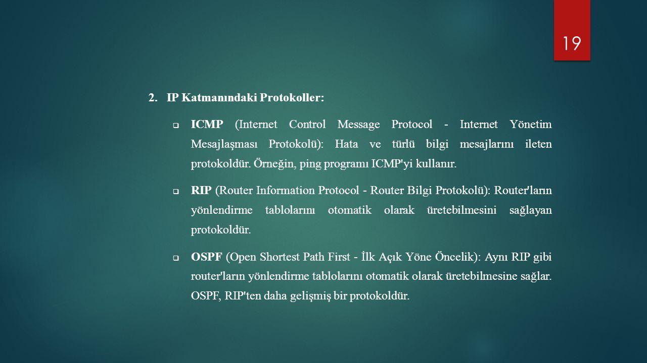 IP Katmanındaki Protokoller:
