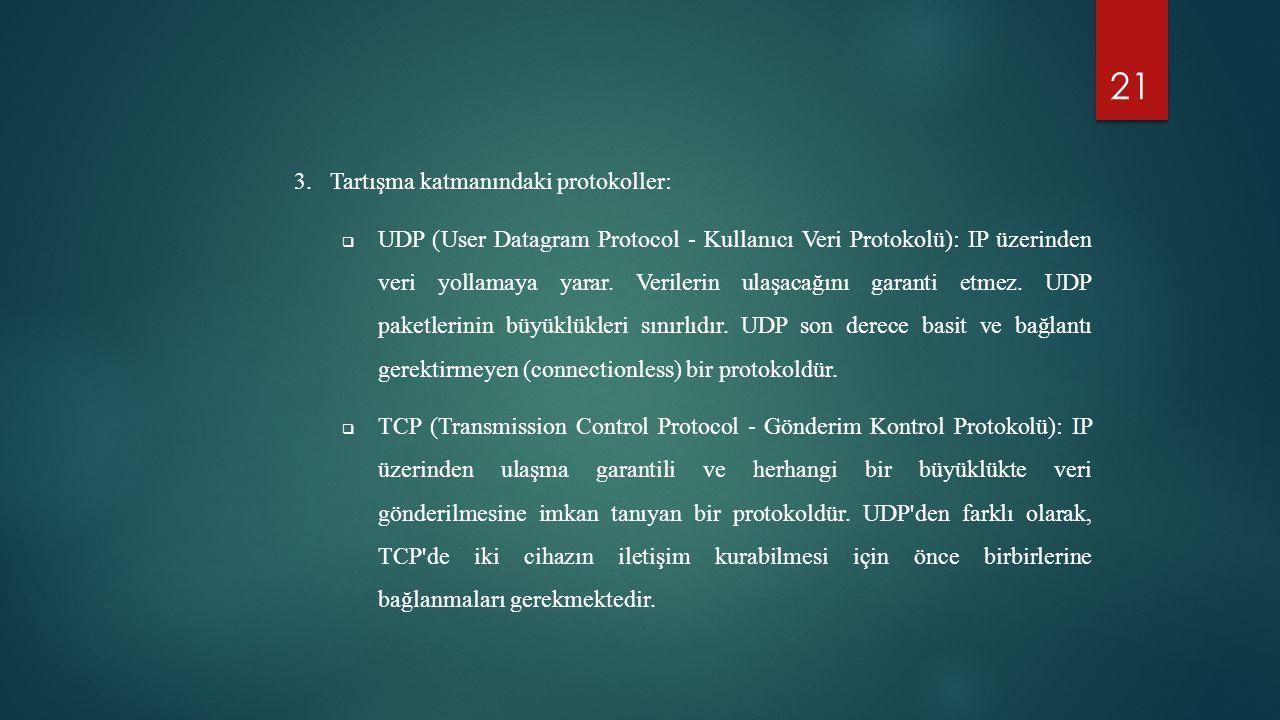 Tartışma katmanındaki protokoller: