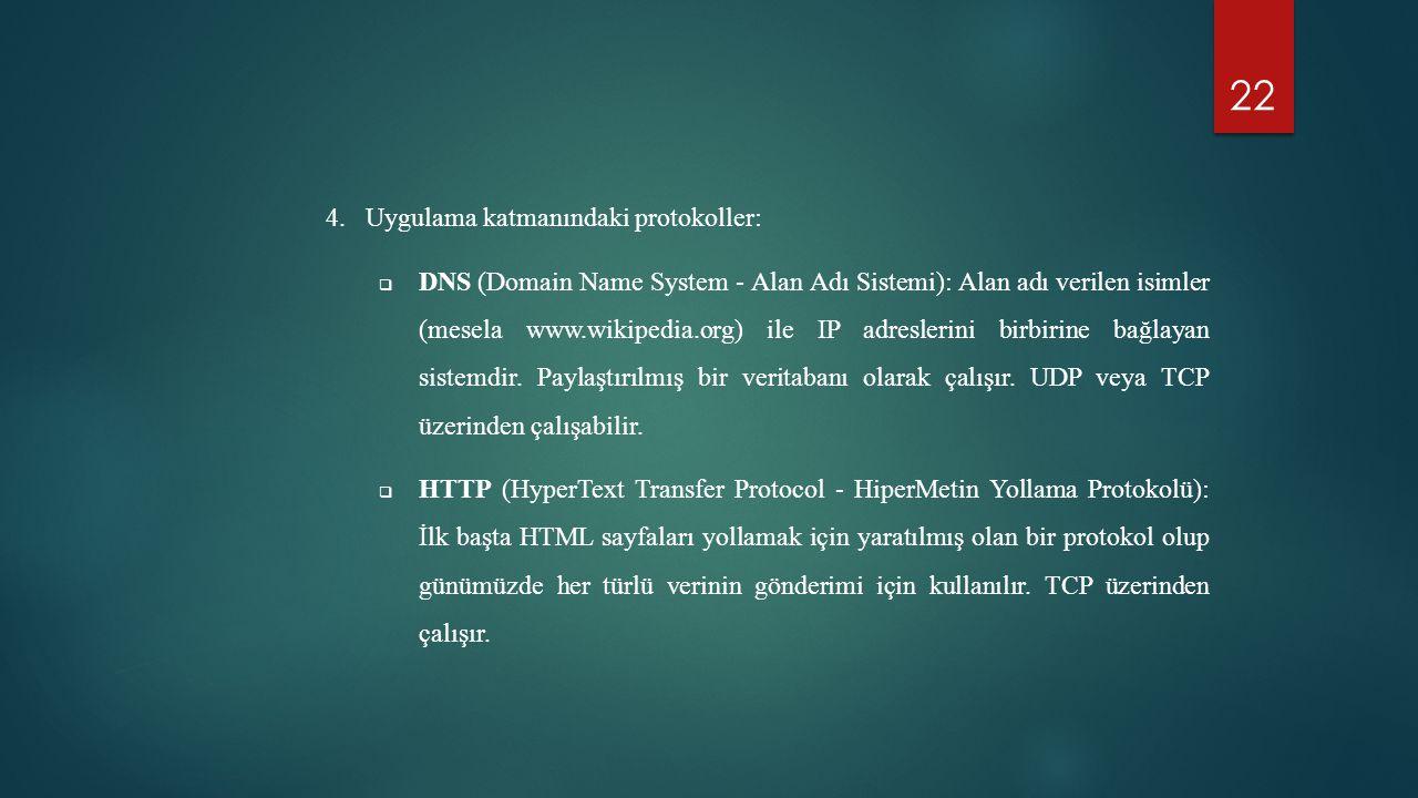 Uygulama katmanındaki protokoller: