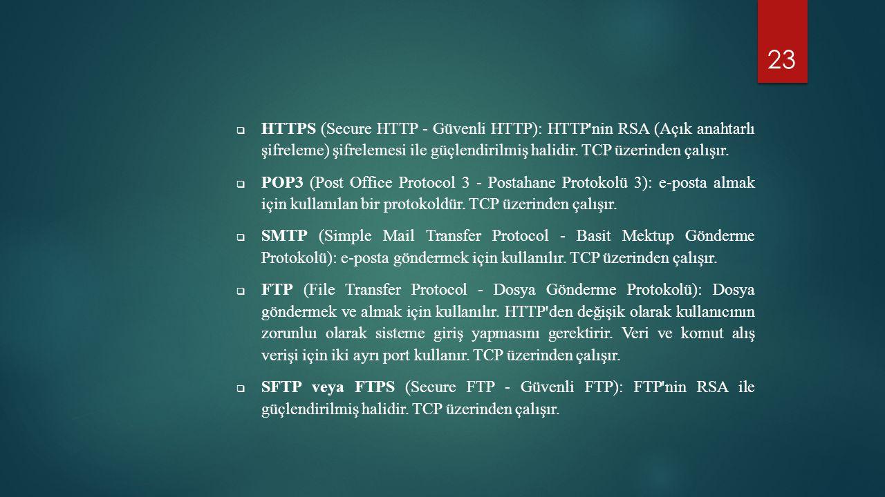 HTTPS (Secure HTTP - Güvenli HTTP): HTTP nin RSA (Açık anahtarlı şifreleme) şifrelemesi ile güçlendirilmiş halidir. TCP üzerinden çalışır.