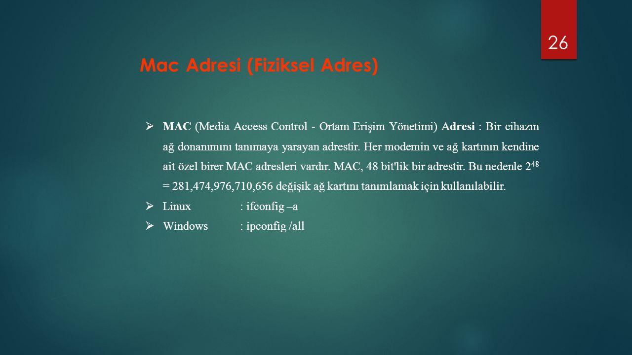 Mac Adresi (Fiziksel Adres)