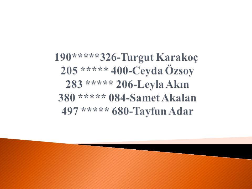 190. 326-Turgut Karakoç 205. 400-Ceyda Özsoy 283. 206-Leyla Akın 380