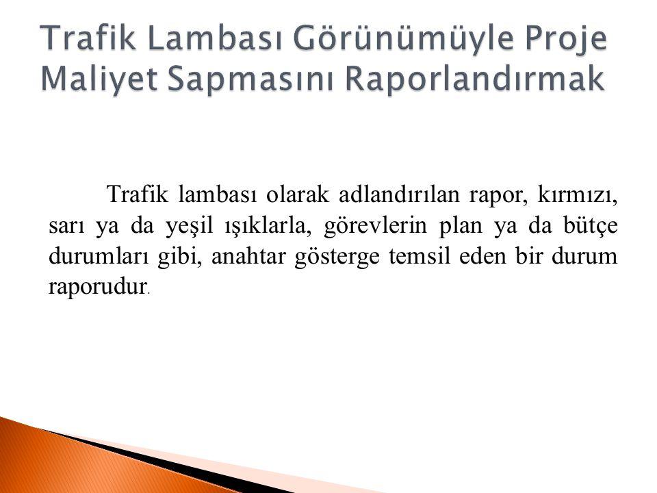 Trafik Lambası Görünümüyle Proje Maliyet Sapmasını Raporlandırmak