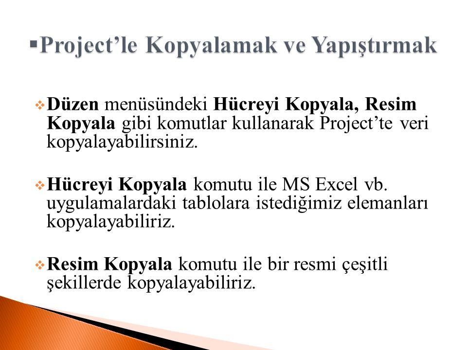 Project'le Kopyalamak ve Yapıştırmak