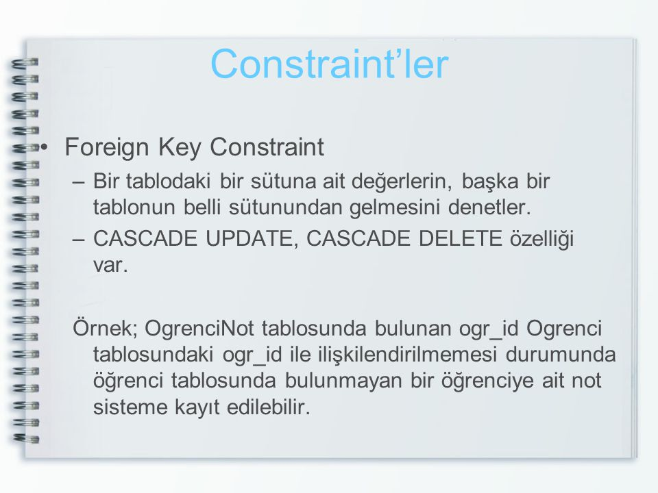Constraint'ler Foreign Key Constraint