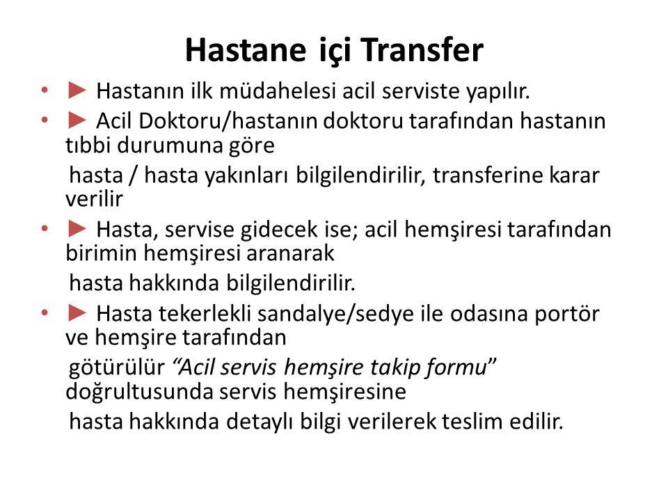 Hastane içi Transfer ► Hastanın ilk müdahelesi acil serviste yapılır.