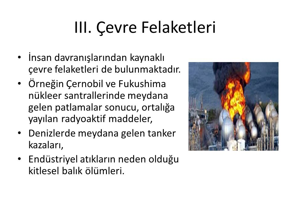 III. Çevre Felaketleri İnsan davranışlarından kaynaklı çevre felaketleri de bulunmaktadır.