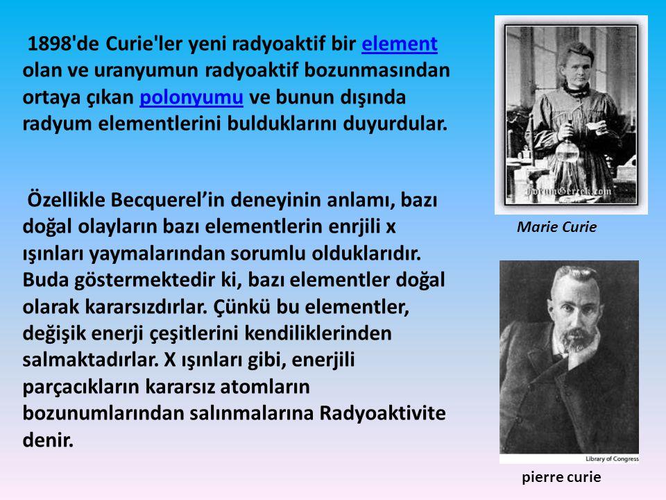 1898 de Curie ler yeni radyoaktif bir element olan ve uranyumun radyoaktif bozunmasından ortaya çıkan polonyumu ve bunun dışında radyum elementlerini bulduklarını duyurdular.