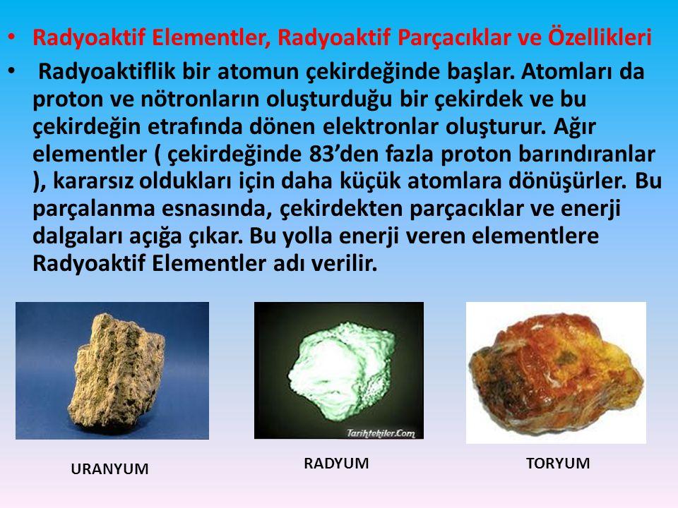 Radyoaktif Elementler, Radyoaktif Parçacıklar ve Özellikleri