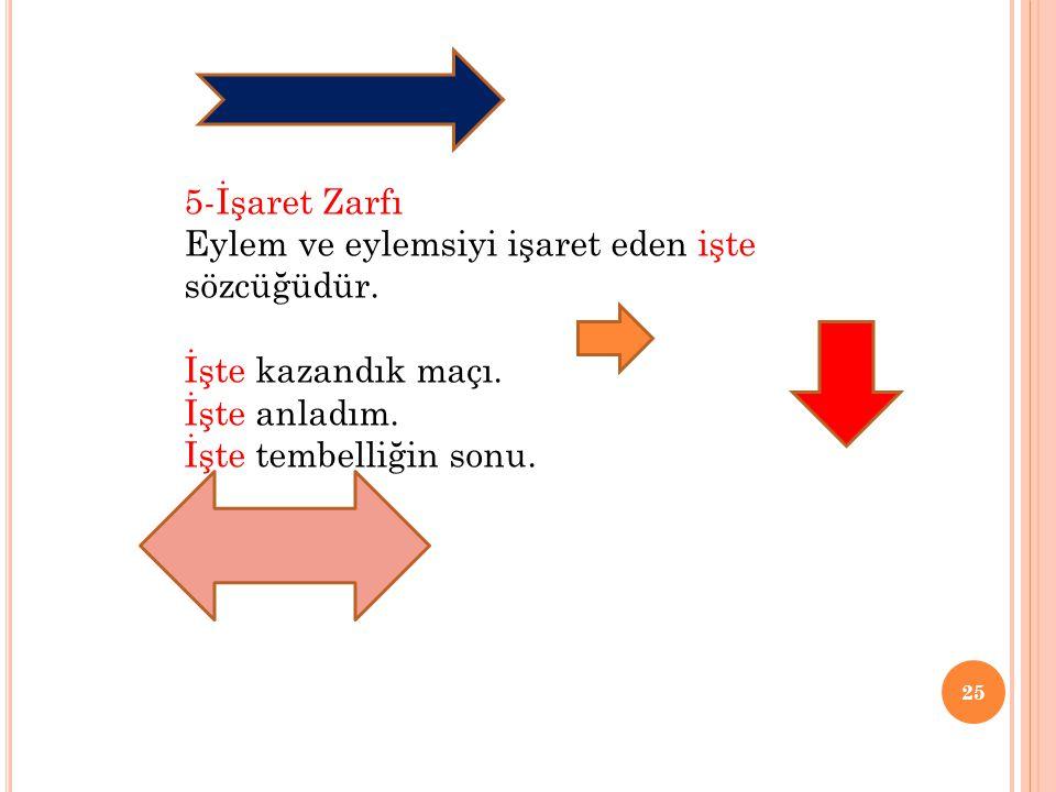 5-İşaret Zarfı Eylem ve eylemsiyi işaret eden işte sözcüğüdür.