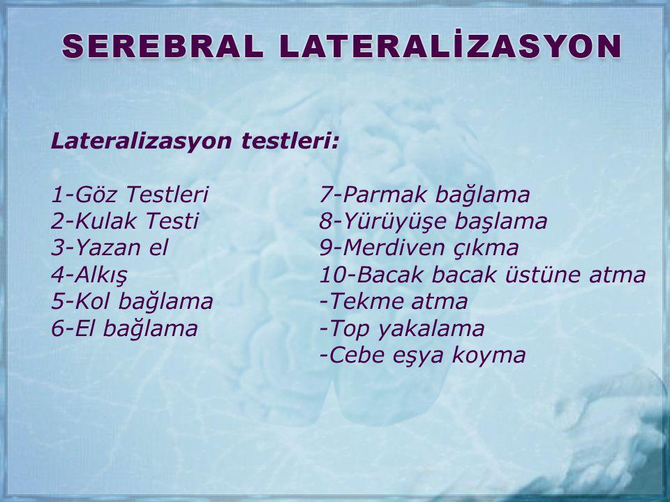 Lateralizasyon testleri: