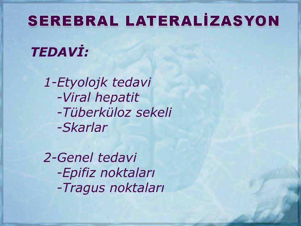 TEDAVİ: 1-Etyolojk tedavi. -Viral hepatit. -Tüberküloz sekeli. -Skarlar. 2-Genel tedavi. -Epifiz noktaları.