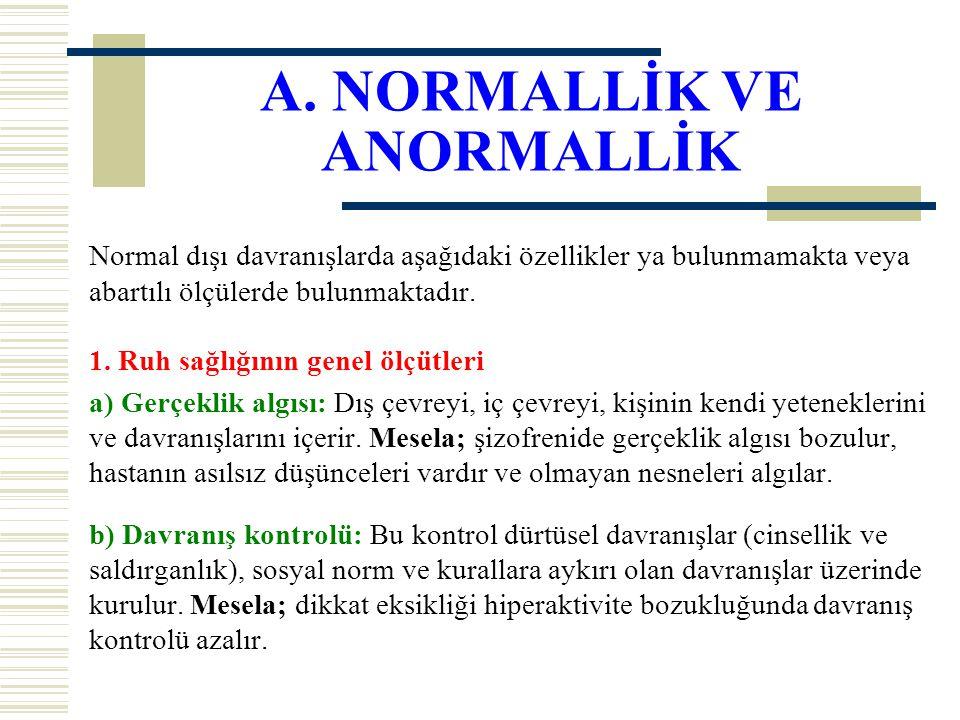 A. NORMALLİK VE ANORMALLİK