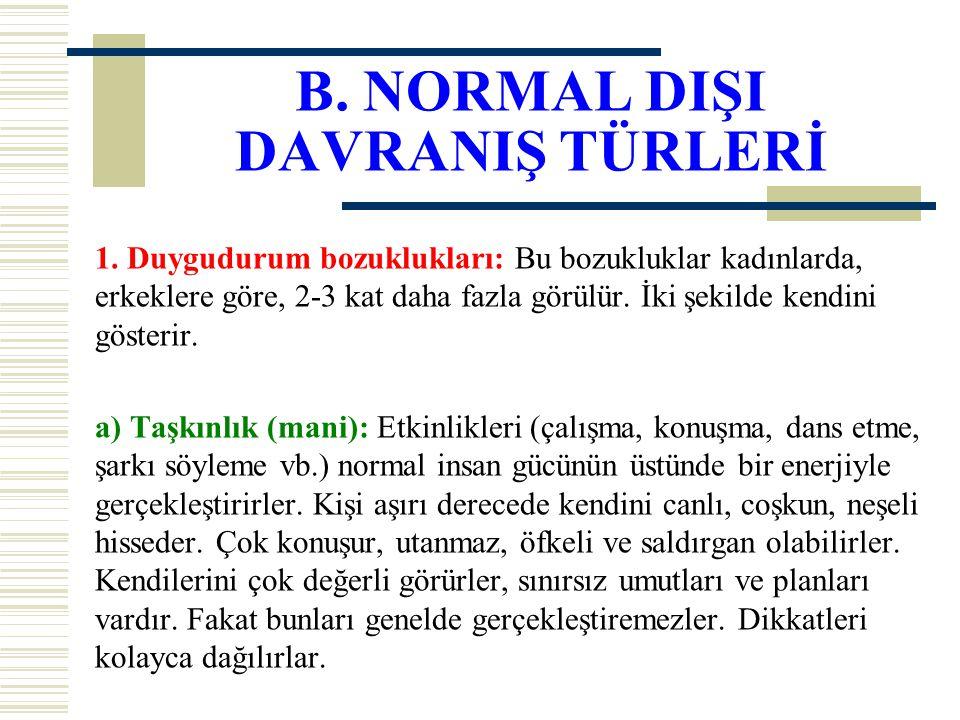 B. NORMAL DIŞI DAVRANIŞ TÜRLERİ