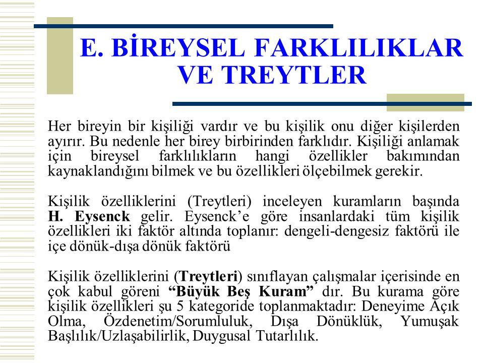 E. BİREYSEL FARKLILIKLAR VE TREYTLER